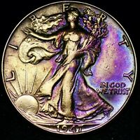 TONED XF 1947 D WALKING LIBERTY SILVER HALF DOLLAR FREE SHIP