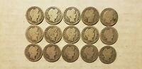 BARBER DIMES 10C SILVER LOT OF 15