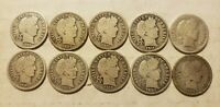 BARBER DIMES 10C SILVER LOT OF 10