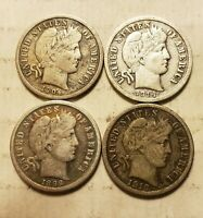 BARBER DIMES 10C SILVER LOT OF 4 GREAT SHAPE