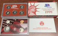 COMPLETE 1999 UNITED STATES MINT SILVER PROOF SET WITH BOX
