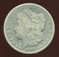 1892 CC CARSON CITY MORGAN SILVER DOLLAR KEY DATE VG/FINE