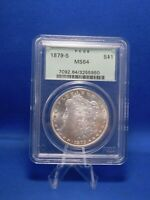 1879 S US SILVER MORGAN DOLLAR MS64 BY PCGS