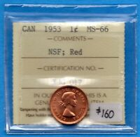 CANADA 1953 NSF 1 CENT ONE SMALL CENT COIN   ICCS MS 66 RED