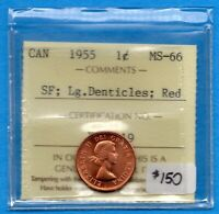 CANADA 1955 SF LG DENTICLES 1 CENT ONE SMALL CENT COIN   ICC
