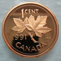 1991 CANADA 1 CENT PROOF PENNY HEAVY CAMEO COIN