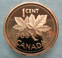 1986 CANADA 1 CENT PROOF PENNY HEAVY CAMEO COIN
