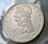 1837 50C KEY DATE CAPPED BUST HALF DOLLAR REALLY NICE COIN