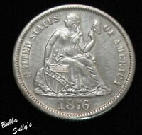 1876 S SEATED LIBERTY DIME <> AU DETAILS