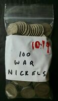 BAG OF 100 5C JEFFERSON SILVER WAR NICKELS