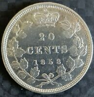 1858 CANADA 20 CENTS  SILVER      FIRST AND ONLY ISSUE YEAR