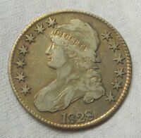 1828 CAPPED BUST SILVER HALF DOLLAR 50C   ARTIFICIALLY TONED