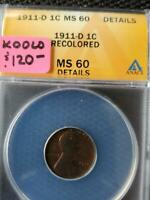 1911 D WITH A ROTATED REVERSE MS 60 DETAILS LINCOLN CENT