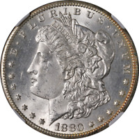 1880-CC MORGAN SILVER DOLLAR NGC MINT STATE 64 GREAT EYE APPEAL STRONG STRIKE