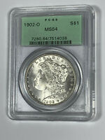 1902-O PCGS MINT STATE 64 MORGAN SILVER DOLLAR IN OLD GREEN HOLDER -  COIN