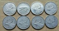 LOT OF 8 CANADIAN SILVER QUARTERS 1940S TO 1960S COINS BULLI