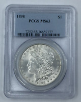1898-P MORGAN SILVER DOLLAR MINT STATE 63 PCGS CERTIFIED MINT STATE 63 $1
