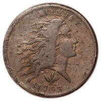 1793 WREATH 1C VINE AND BARS EDGE FLOWING HAIR LARGE CENT PCGS OGH F15BN