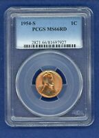 1954 S PCGS MINT STATE 66RD LINCOLN WHEAT CENT 1C PENNY US MINT 1954-S MINT STATE 66 RD