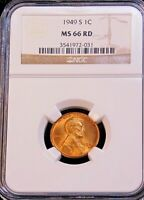 1949-S LINCOLN CENT NGC MINT STATE 66RD BRIGHT RED WITH STRONG LUSTER, PQ GC207