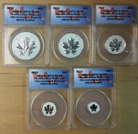 2013 CANADIAN SILVER MAPLE LEAF   25TH ANNIV   5 COIN SET AN