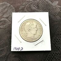 1908 D   BARBER HALF DOLLAR 90  SILVER COLLECTIBLE  YOU JUDG