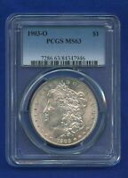 1903 O PCGS MINT STATE 63 MORGAN SILVER DOLLAR $1 US KEY DATE 1903-O MINT STATE 63 PQ COIN