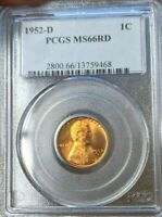 1952-D LINCOLN CENT WHEAT CENT PCGS MINT STATE 66 RD