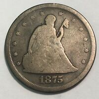 1875 S SEATED LIBERTY SILVER 20 CENT PIECE