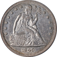 1849 SEATED LIBERTY DOLLAR PCGS AU50 GREAT EYE APPEAL NICE S