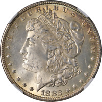 1882-P MORGAN SILVER DOLLAR NGC MINT STATE 63  EYE APPEAL STRONG STRIKE