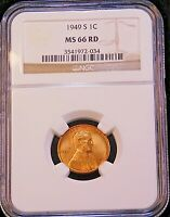 1949-S LINCOLN CENT NGC MINT STATE 66RD BRIGHT RED WITH STRONG LUSTER, PQ GC268