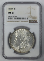 1887-P MORGAN SILVER DOLLAR MINT STATE 61 NGC CERTIFIED MINT STATE 61 $1