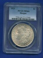1921 P PCGS MINT STATE 64 MORGAN SILVER DOLLAR $1 US MINT PCGS 1921-P MINT STATE 64 PQ COIN