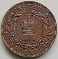 1873 NEWFOUNDLAND CANADA CANADIAN 1 CENT VICTORIA COIN