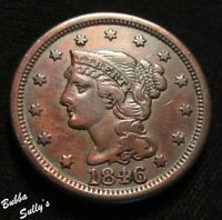 1846 BRAIDED HAIR LARGE CENT <> F DETAILS