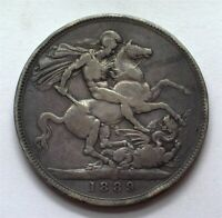 GREAT BRITAIN 1889 SILVER CROWN GOOD SAINT GEORGE SLAYING THE DRAGON