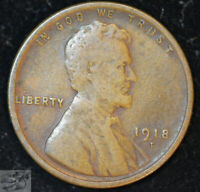 1918 D LINCOLN WHEAT CENT, PENNY, FINE CONDITION, SHIPS FREE IN USA, C4866
