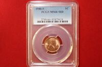1946-S LINCOLN CENT GRADED PCGS MINT STATE 66RD $2.95 SHIPPING