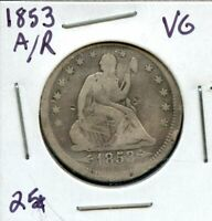 1853 UNITED STATES SEATED LIBERTY SILVER QUARTER DOLLAR 25C