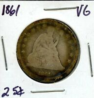 1861 UNITED STATES SEATED LIBERTY SILVER QUARTER DOLLAR 25C