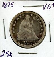 1875 UNITED STATES SEATED LIBERTY SILVER QUARTER DOLLAR 25C
