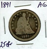 1891 UNITED STATES SEATED LIBERTY SILVER QUARTER DOLLAR 25C