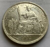 FRENCH INDO CHINA SILVER PIASTRE 1902 A