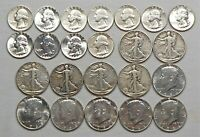 LOT OF $8.75 FACE 90  US SILVER COINS   QUARTERS & HALF DOLL