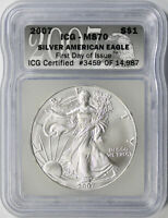 2007 $1 AMERICAN SILVER EAGLE ICG MS70 FIRST DAY OF ISSUE