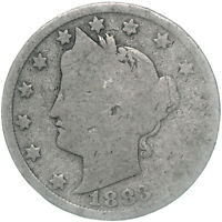 1883 LIBERTY V NICKEL NO CENTS ABOUT GOOD AG US COIN