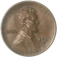 1927 D LINCOLN WHEAT CENT ABOUT UNCIRCULATED PENNY AU