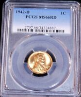 1942-D LINCOLN CENT PCGS MINT STATE 66RD BRIGHT RED SUPERB LUSTER, PQ GC520