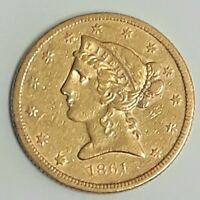 1861 P U.S. $5 LIBERTY HEAD HALF EAGLE GOLD COIN